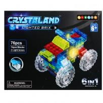 Rotaļu klucīši auto ar gaismām (76gab.) 6in 1 models ,CRYSTALAND