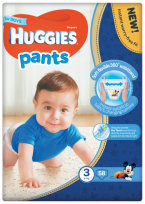 HUGGIES PANTS 3 izmērs, AUTIŅBIKSĪTES-  BIKSĪTES BOY (6-11KG), 58GB