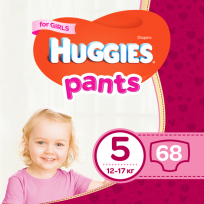 HUGGIES PANTS 5 izm. BIKSĪTES GIRL 12-17KG 68GB