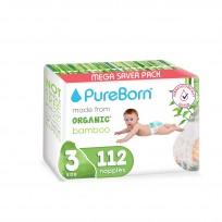 PureBorn organiskās autiņbiksītes no bambusa 3 (5.5-8kg) 112gb.
