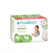 PureBorn organiskās autiņbiksītes no bambusa 4 (7-12kg) 96gb.
